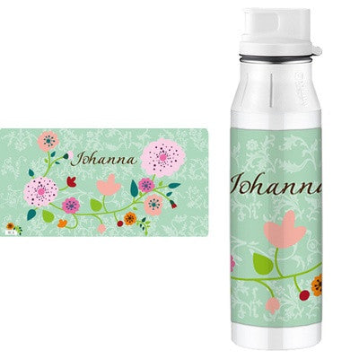 Personalised Alfi Stainless Steel Flask Floral Mint - PetitePeople