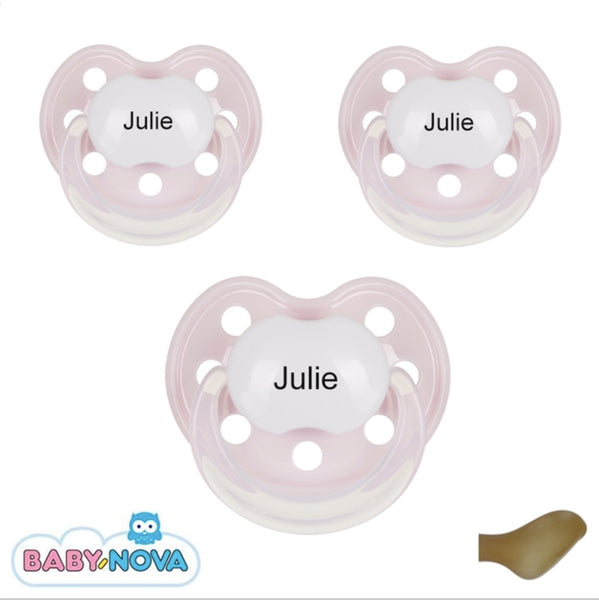 Baby Nova personalised pacifiers Anatomical Latex Str. 2: From about 6 md. Pack of 3 - PetitePeople