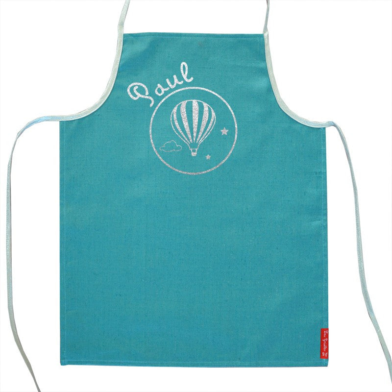 Green Personalised apron with silver prints balloon - PetitePeople