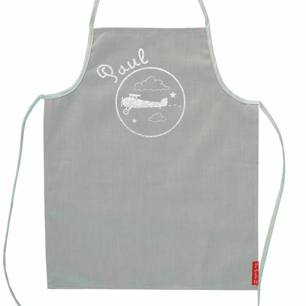 Grey Personalised apron with silver prints - PetitePeople