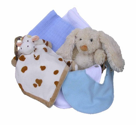 Personalized Cow Gift Basket (blue, small) - PetitePeople