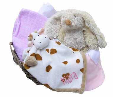 Personalized Cow Gift Basket (pink, small) - PetitePeople