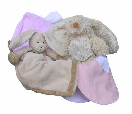 Personalized Rabbit Gift Basket (pink, small) - PetitePeople