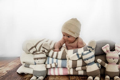 Personalised Luxury Striped Cotton Blanket & Bunny Gift Set - PetitePeople