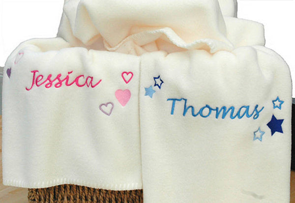 Personalised Stars And Hearts Baby Blanket - PetitePeople