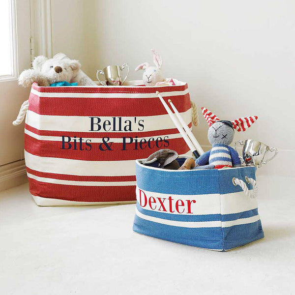 Large Rectangular Red & Cream Stripe Storage Tub - PetitePeople