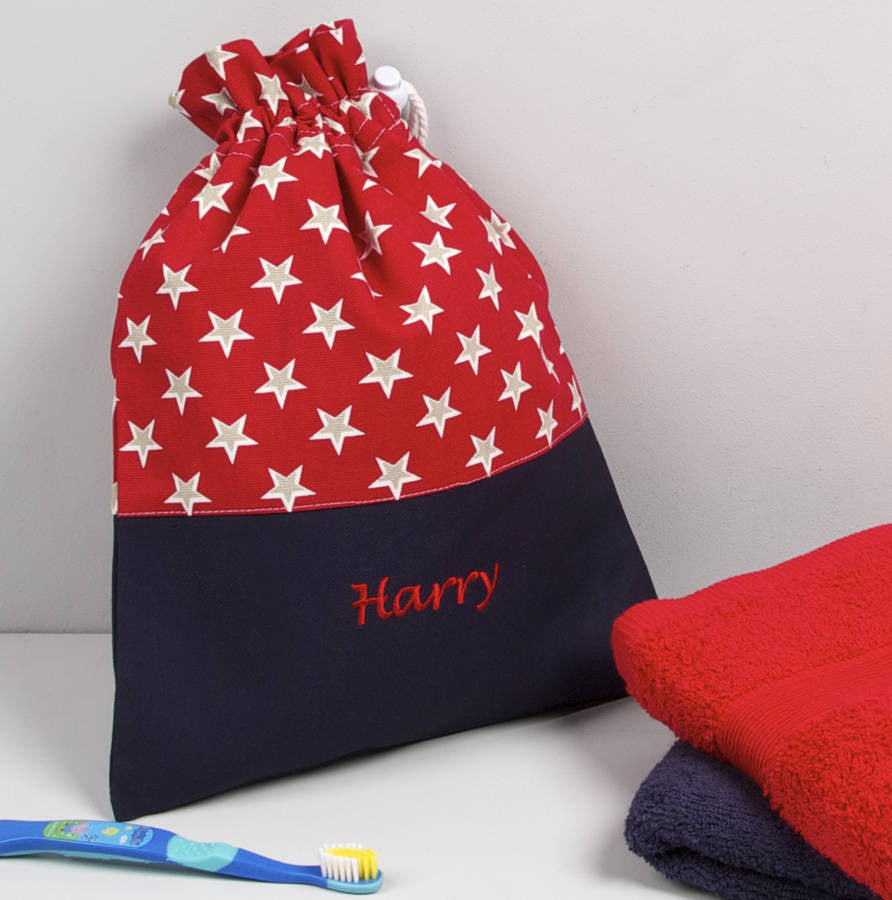 Child's Personalised Red Star Wash Bag - PetitePeople