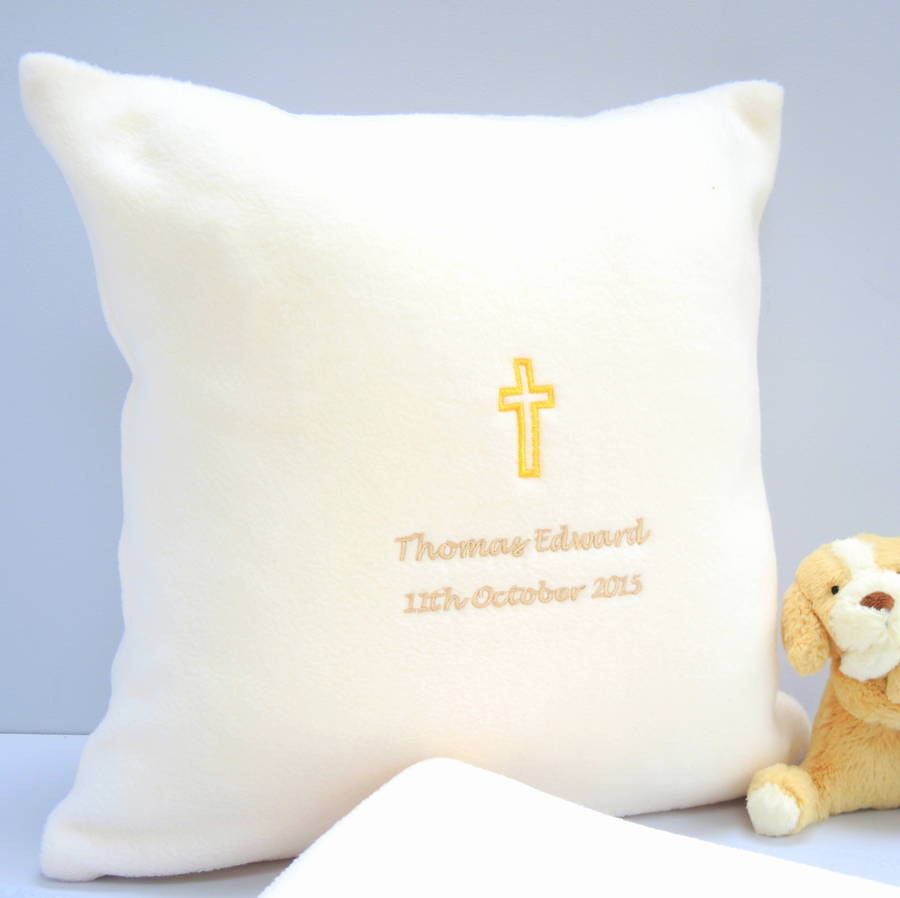 Personalised Embroidered Christening Cushion - PetitePeople