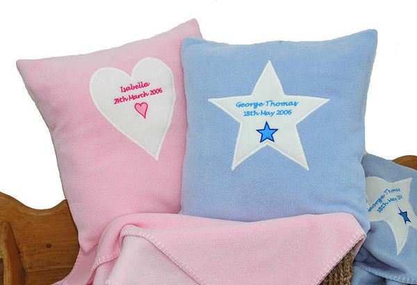 Personalised Baby Heart Or Star Embroidered Cushion - PetitePeople