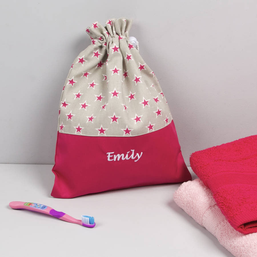 Girls Personalised Pink Star Washbag - PetitePeople