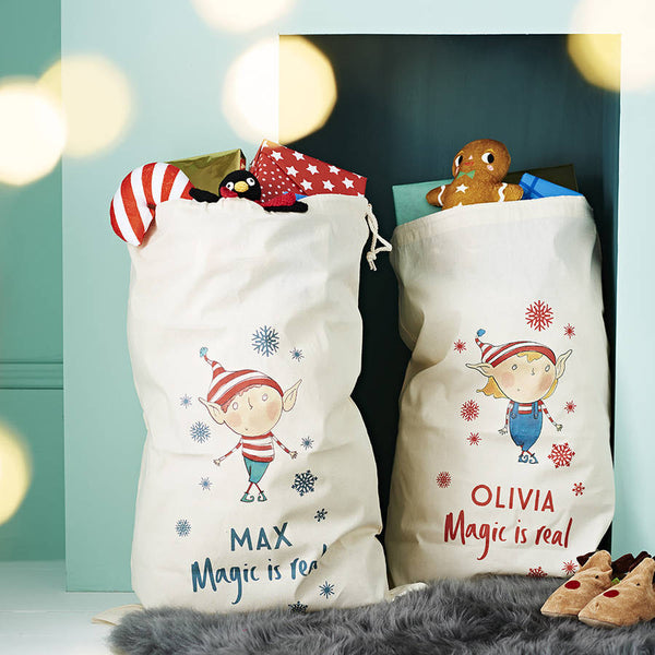 Personalised Elf Magic Is Real Santa Sack - PetitePeople