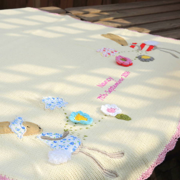 Personalised Knitted Rabbit Baby Blanket Small - PetitePeople