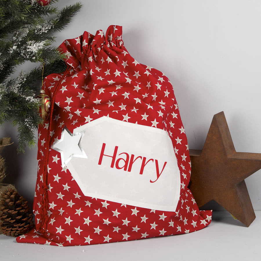 Personalised Red Stars Christmas Santa Sack - PetitePeople