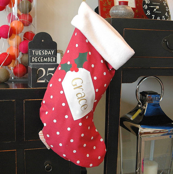 Personalised Spotty Christmas Stocking - PetitePeople