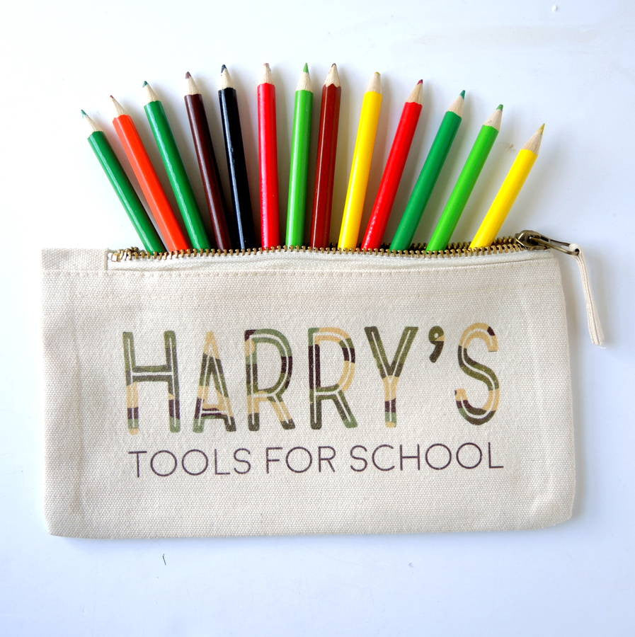 Personalised Tools For School Pencil Case Army - PetitePeople