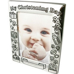 Personalized Silver Plated Christening Frame - PetitePeople