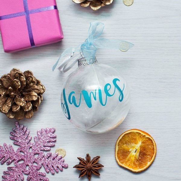 Personalised Clear Glass Feather Christmas Bauble - PetitePeople