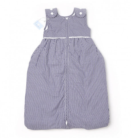 Blue Gingham Baby Lined Sleeping Bag with Buttons - PetitePeople