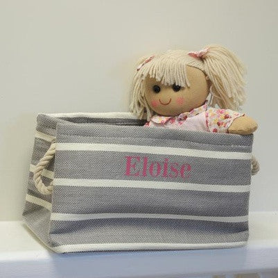 Small Rectangular Grey Stripe Storage Tub - PetitePeople