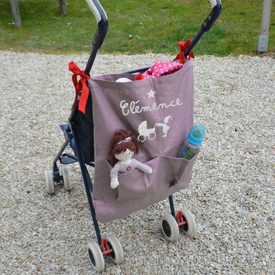 Personalized Coated Canvas Stroller Bag Blue - PetitePeople