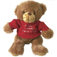 Personalised Brown Teddy Bear with Embroidered Red Jumper - PetitePeople