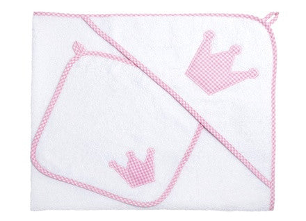 Personalised Baby Hooded Towel XL Set (Pink Gingham) - PetitePeople