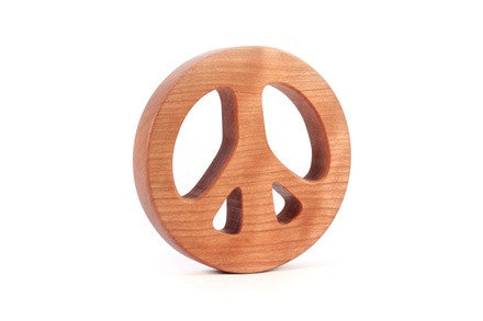 Personalized Wooden Peace Sign Rattle - PetitePeople