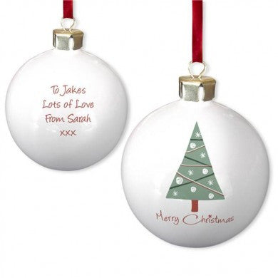 Merry Christmas Tree Bone China Bauble - PetitePeople
