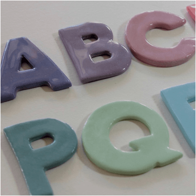 Ceramic letter decorations