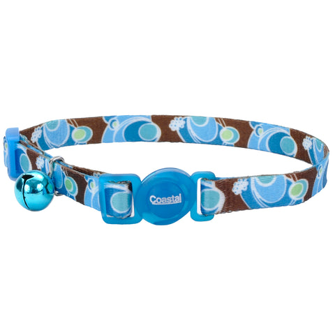 Fashion Breakaway Adjustable Cat Collar with Bell, Blue Swirl