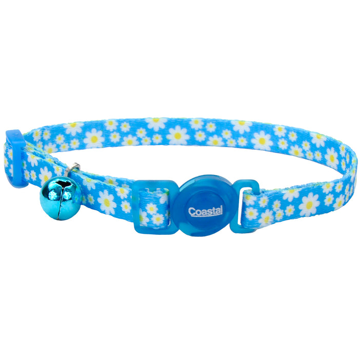 Fashion Breakaway Adjustable Cat Collar with Bell, Daisy Blue