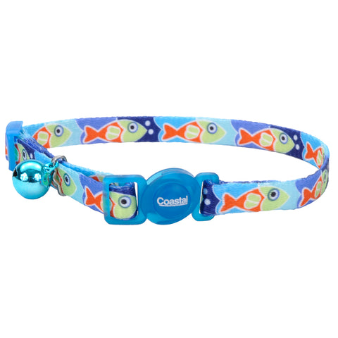 Fashion Breakaway Adjustable Cat Collar with Bell, Blue Fish