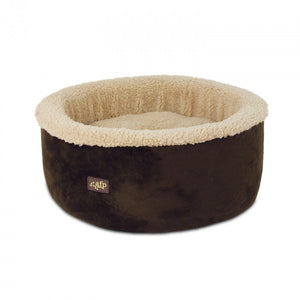 Dark brown comfy cat or dog bed