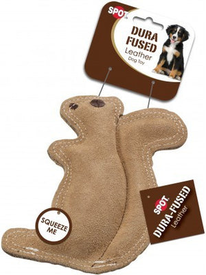 ethical pet spot dura fused leather squirrel dog toy