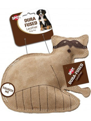 ethical pet spot dura fused leather raccoon dog toy