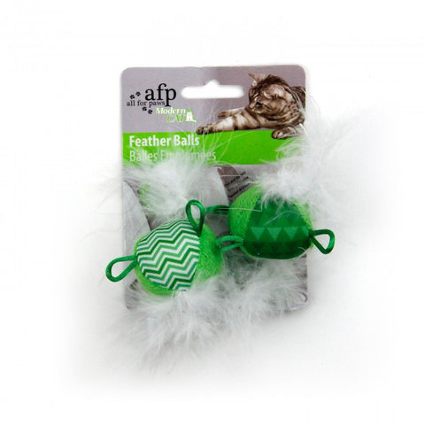 All For Paws Modern Cat Feather Balls 2/pk