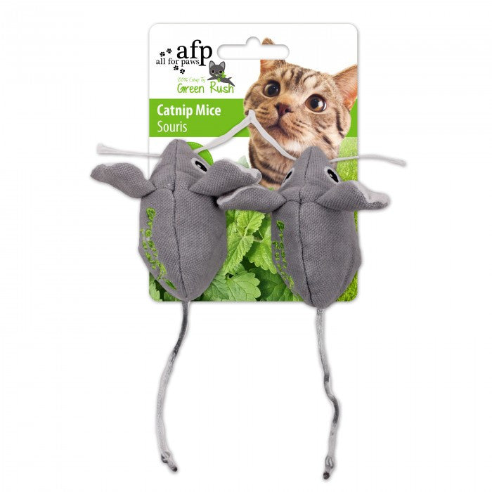 All For Paws Green Rush w/Canadian Catnip Mice 2/pk