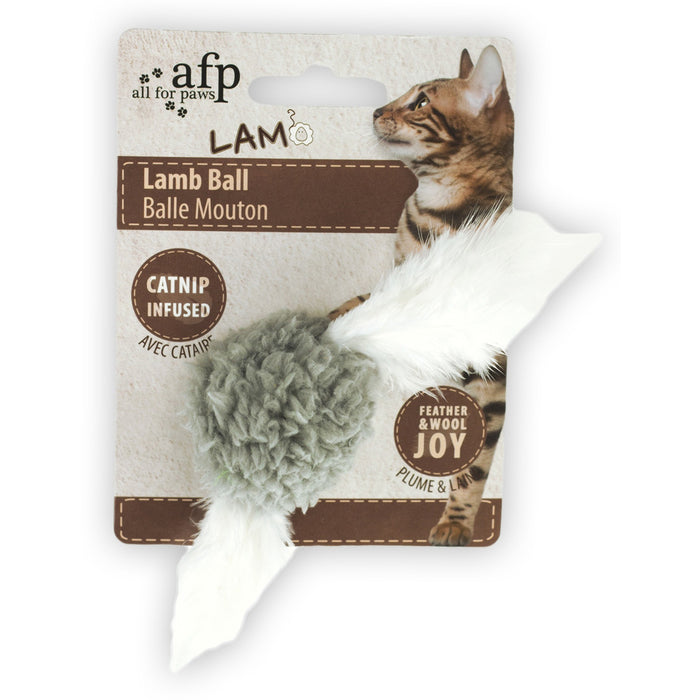 All For Paws Lamb Wooly Ball with Bird Sound Cat Toy