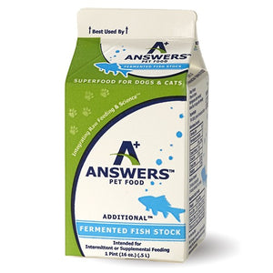 answers pet food fermented fish stock pint 16 oz supplement