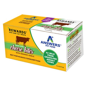 answers rewards raw cow cheese bites with organic garlic 8 oz