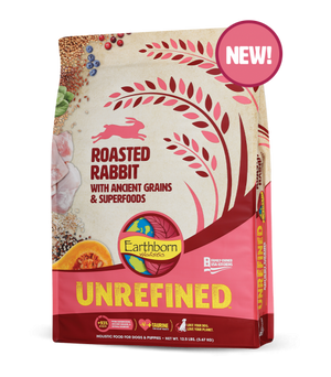 earthborn unrefined roasted rabbit dog diet dog food ancient grains superfoods