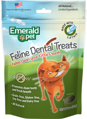 Emerald Pet Feline Dental Chews, Grain-Free Catnip Cat Treats