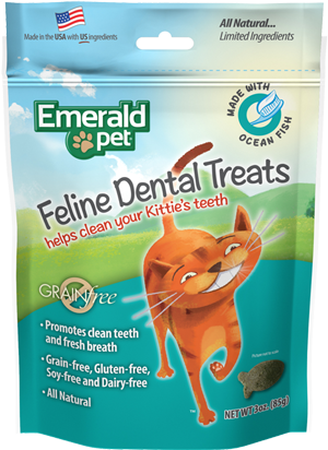 Emerald Pet Feline Dental Chews, Grain-Free Ocean Fish Cat Treats