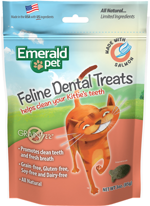 Emerald Pet Feline Dental Chews, Grain-Free Salmon Cat Treats