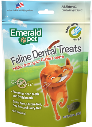 Emerald Pet Feline Dental Chews, Grain-Free Tuna Cat Treats