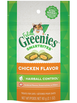 feline greenies smartbies hairball control chicken flavor 2.1 oz