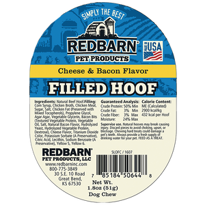 Redbarn Naturals Filled Cow Hoof - Cheese N' Bacon