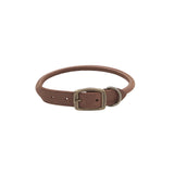Circle T Rolled Rustic Leather Collar Chocolate