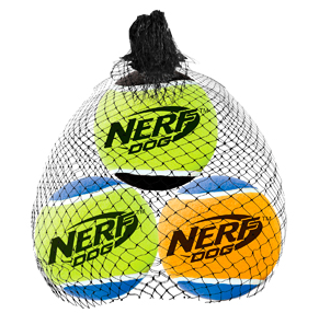 NERF DOG Squeak Tennis Balls Medium 3pk