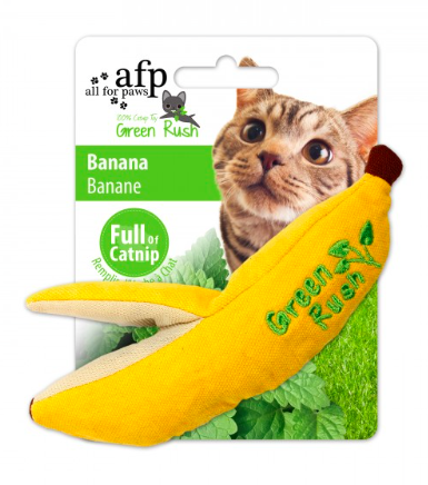 All For Paws Green Rush Banana with Catnip Cat Toy